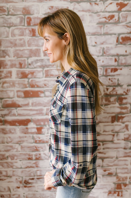 Button Down Soft Plaid Pocket Top - Navy Multi