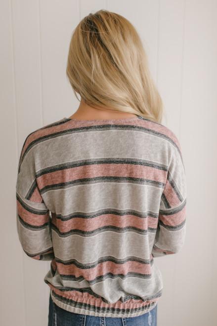 Button Down Striped Twisted Hem Top - Grey/Mauve