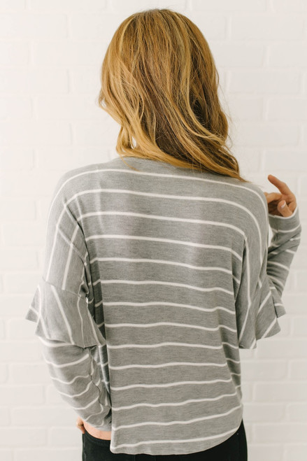 Ruffle Sleeve Striped Knot Top - Grey/White