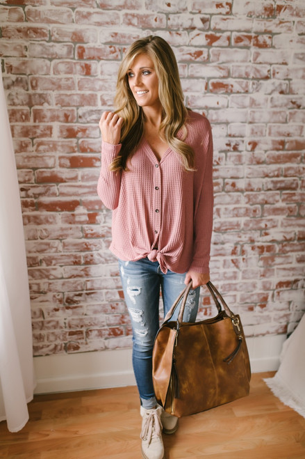 Ansleigh Button Down Knot Thermal Top - Mauve