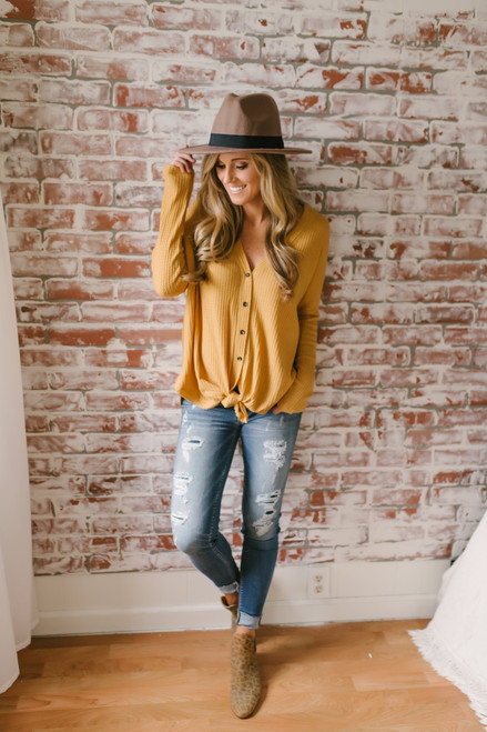 Ansleigh Button Down Knot Thermal Top - Mustard