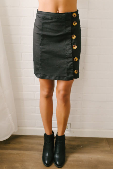 Closing Time Button Down Skirt - Black