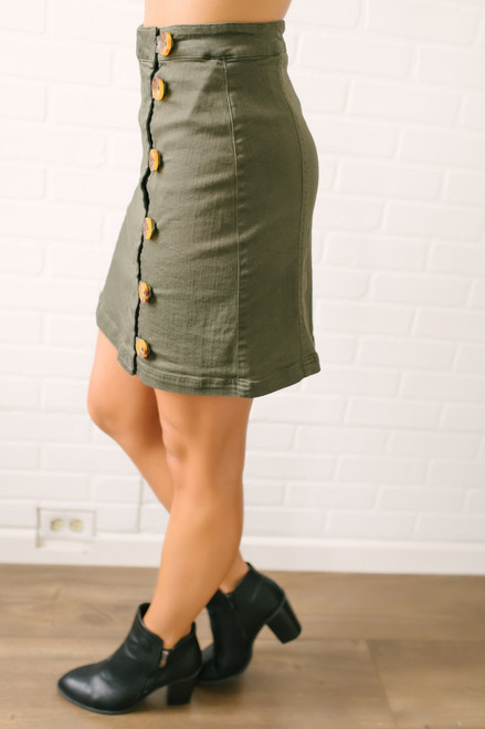 Closing Time Button Down Skirt - Olive