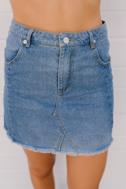 Autumn Nights Frayed Denim Skirt - Light Wash