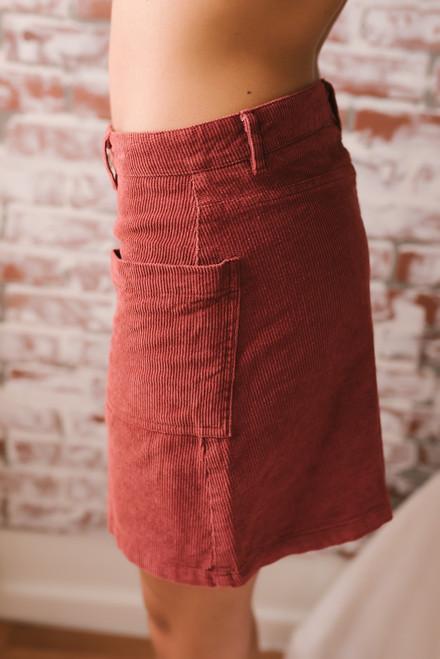 Mallory Zip Up Corduroy Skirt - Rust