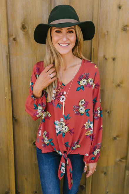 Balloon Sleeve Floral Knot Top - Rust Multi