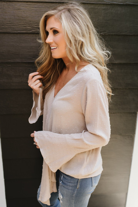 V-Neck Flare Sleeve Dotted Knot Top - Latte