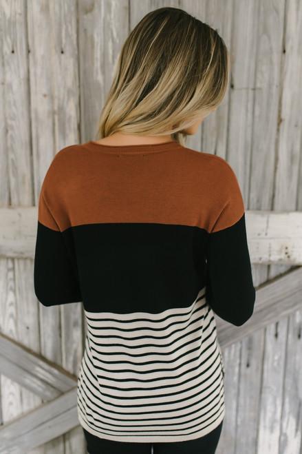Sahara Desert Colorblock Striped Sweater - Camel Multi