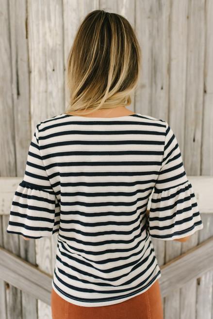 Short Ruffle Sleeve Striped Top - Navy/Ivory