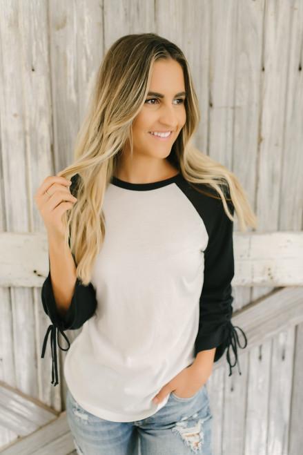 Morgan Ruched Sleeve Baseball Tee - White/Black