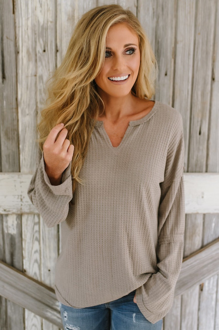 V-Neck Tiered Flare Sleeve Thermal Top - Mocha