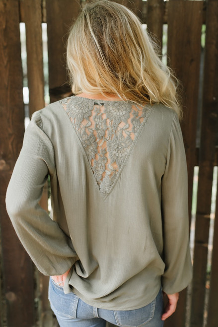 Josie Lace Back Surplice Top - Olive