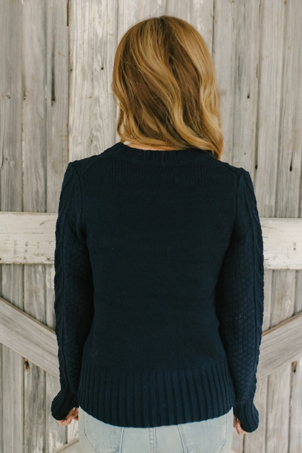 Follow Your Heart Cable Knit Sweater - Navy