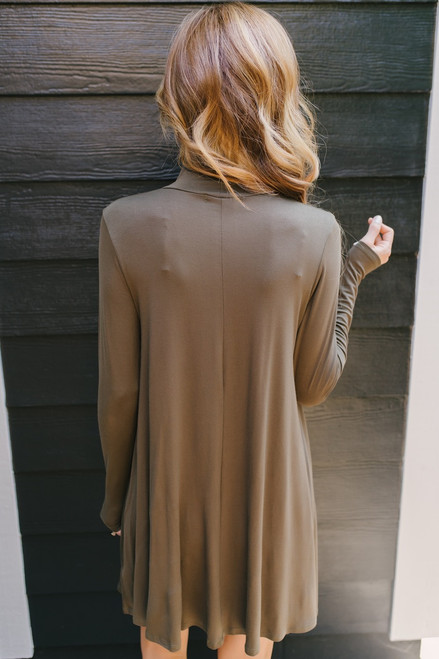 Sweet Love Mock Neck Knit Dress - Olive