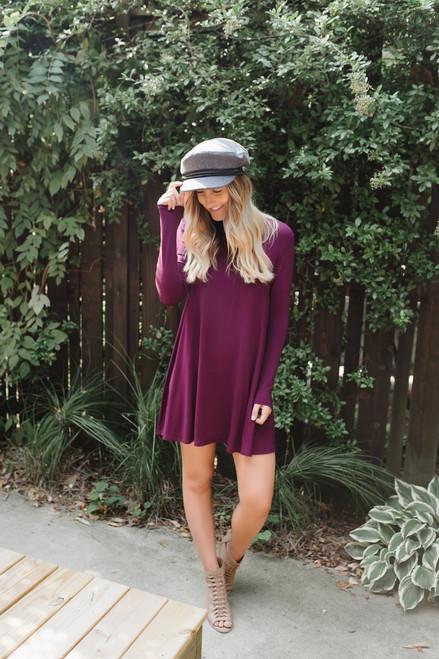 Sweet Love Mock Neck Knit Dress - Cabernet