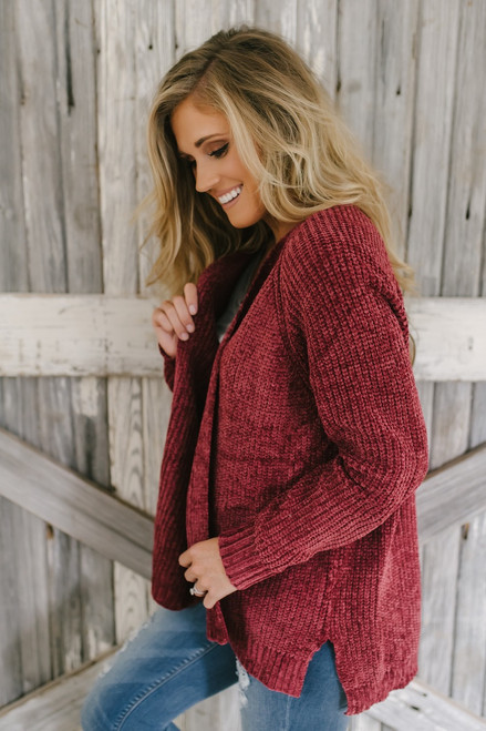 Central Park Chenille Cardigan - Burgundy