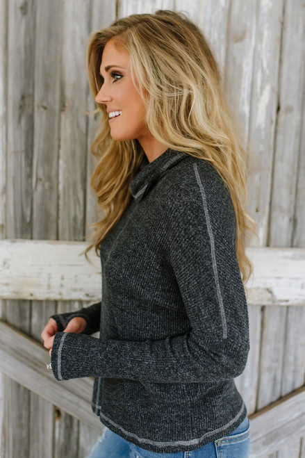 Soft Brushed Cowl Neck Top - Black
