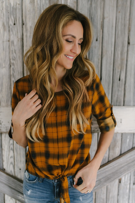 Plaid Roll Tab Knot Top - Golden Topaz/Black
