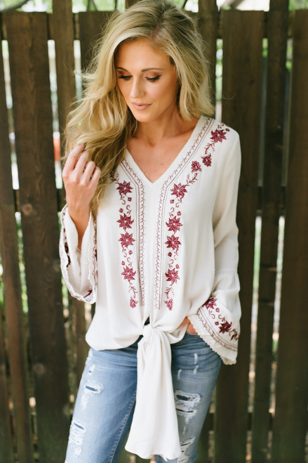 Embroidered Bell Sleeve Knot Top - Beige/Burgundy
