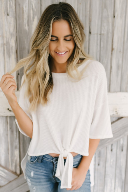 Soft Brushed Waffle Knit Knot Top - Off White