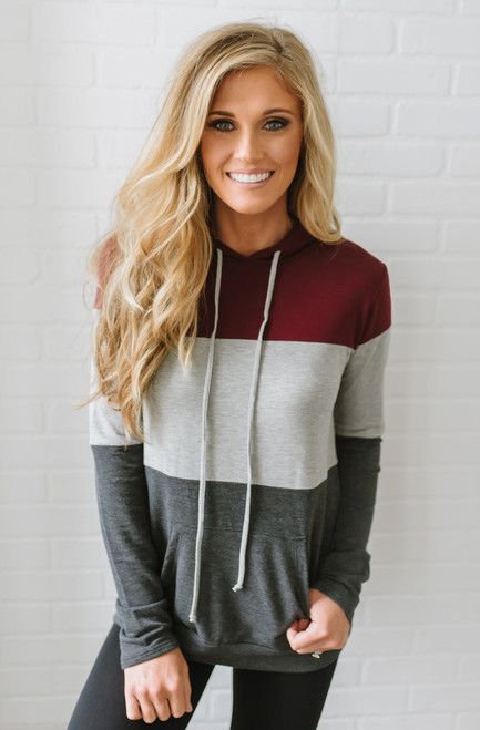 Colorblock Drawstring Hoodie - Burgundy/Grey/Charcoal