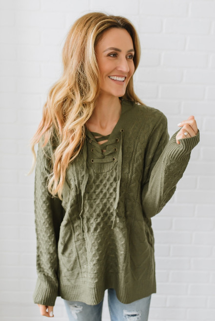 Lace Up Hooded Cable Sweater - Olive