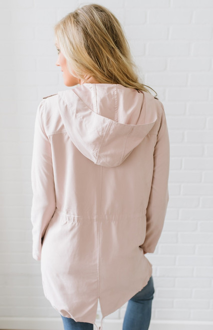 Faux Suede Hooded Drawstring Jacket - Light Blush