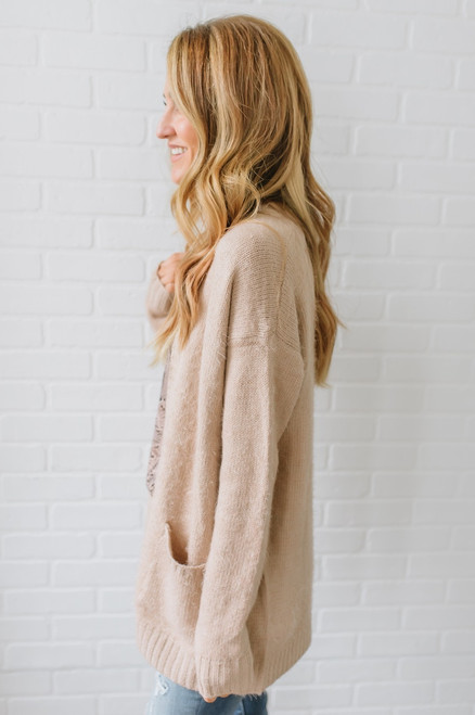 Fireside Romance Soft Pocket Cardigan - Canyon Coral