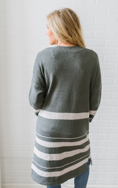 Emma Colorblock Duster Pocket Cardigan - Charcoal/Pink