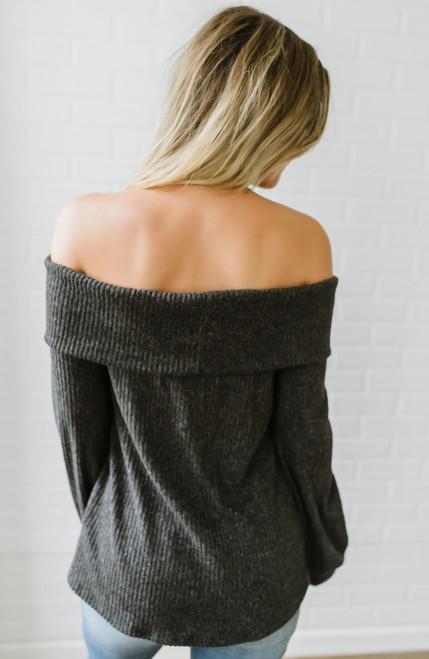 Off the Shoulder Soft Brushed Top - Charcoal