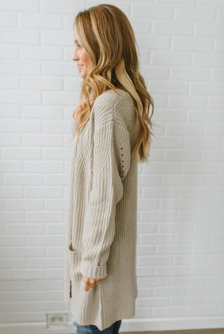 Denali Two Tone Pocket Cardigan - Oatmeal