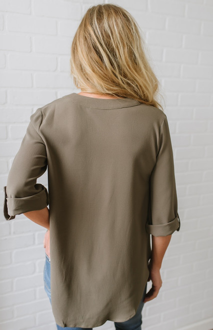 Nora V-Neck Roll Tab Top - Olive