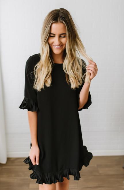 So Into You Pleated Ruffle Shift Dress - Black