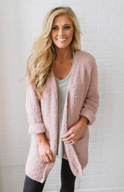 Coffee & Cuddles Soft Pocket Cardigan - Rose