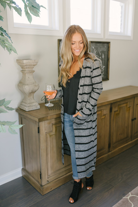 Striped Duster Pocket Cardigan - Heather Charcoal/Black