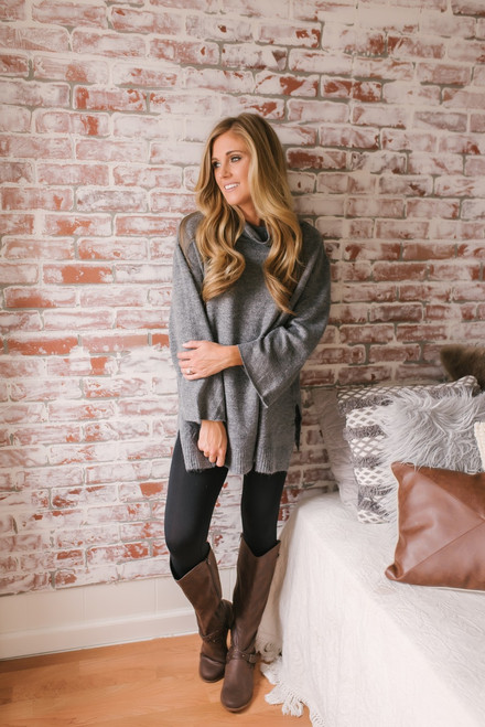 Autumn in Paris Cowl Neck Tunic - Grey - FINAL SALE