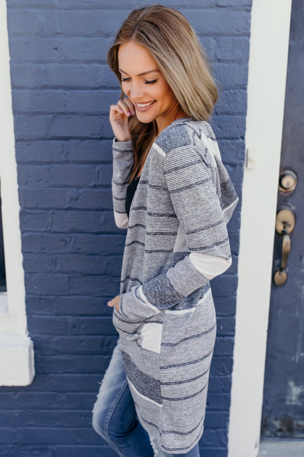 Hooded Striped Colorblock Cardigan - Grey/White
