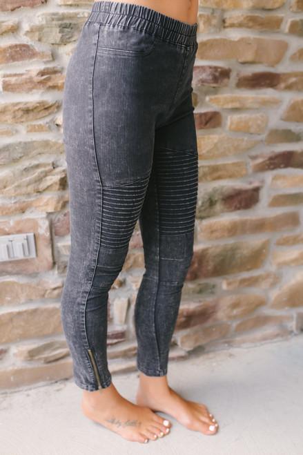No Promises Vintage Wash Moto Leggings - Black