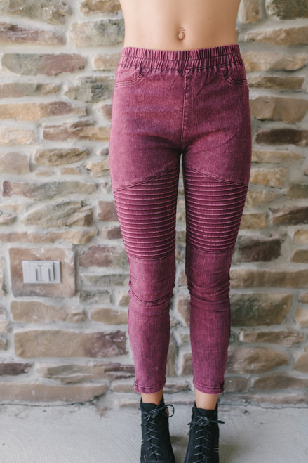 No Promises Vintage Wash Moto Leggings - Burgundy