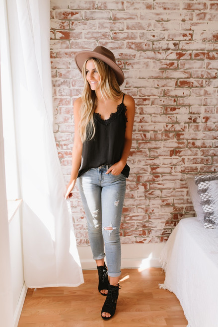 Break of Dawn Lace Detail Tank - Black