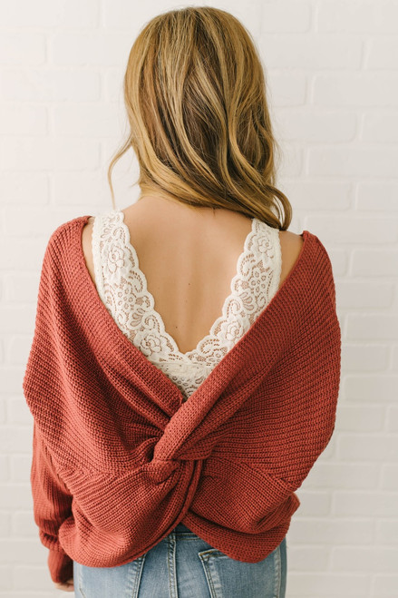 In My Dreams Knot Back Sweater - Brick