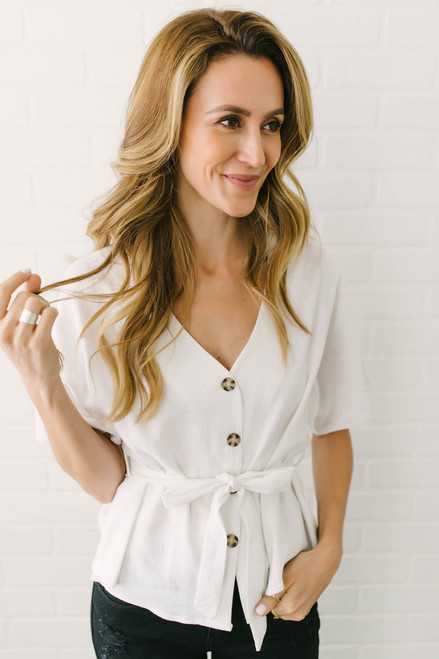 We Belong Together Button Down Top - Off White