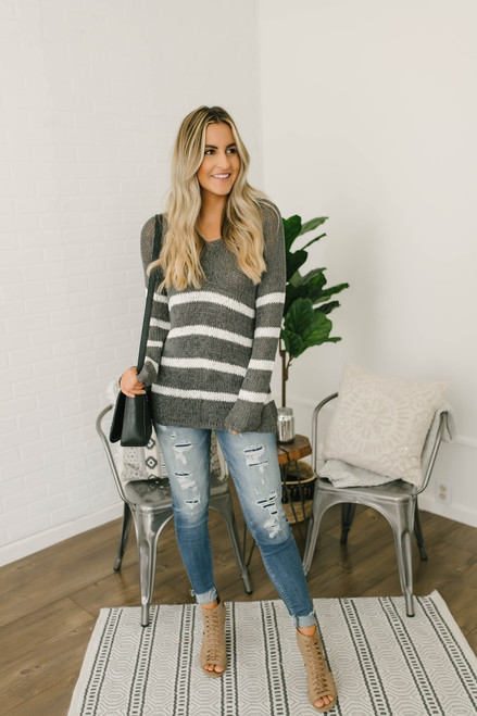 Ella V-Neck Open Knit Striped Sweater - Grey/White
