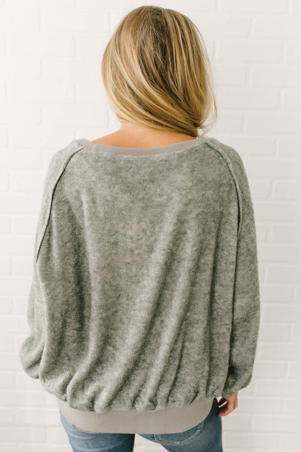Bonfire Nights French Terry Pullover - Stone Olive