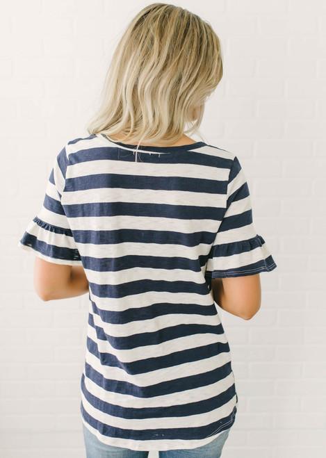 Ruffle Sleeve Striped Knot Top - Navy/Cream