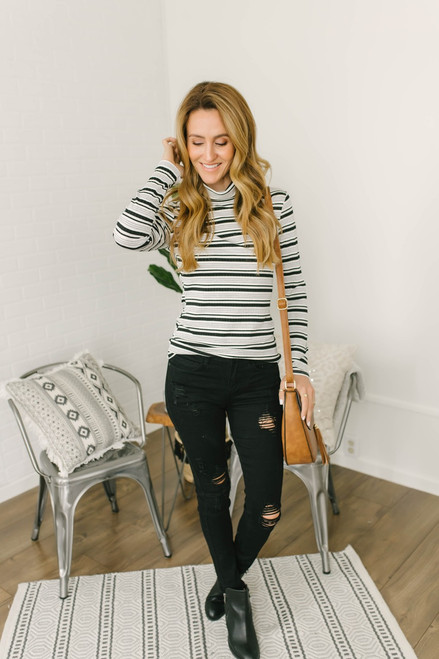Mock Neck Ribbed Knit Striped Top - Black/Grey/White