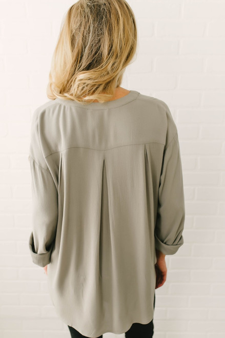 Button Down High Low Pocket Top - Olive