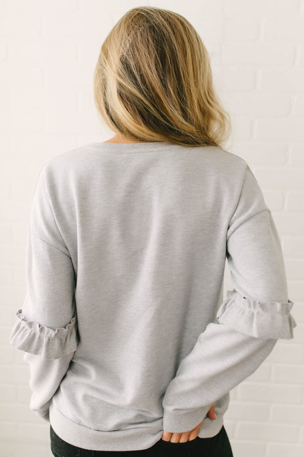 Telluride Ruffle Sleeve Pullover - Heather Grey