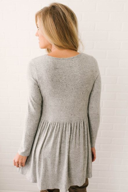 Simple As This Soft Brushed Dress - Heather Grey