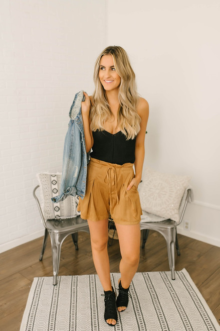 You Belong with Me Faux Suede Shorts - Camel